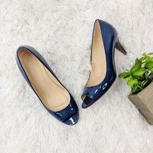J.CREW Drea peep toe patent leather pump navy blue